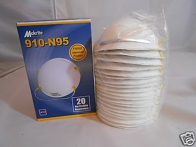 Makrite 910-N95 Surgical / Industrial Masks - 20 Particulate Respirators Per Box