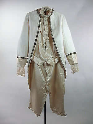 Antique 4 Pc Little Lord Fauntleroy White Satin Ring Bearer Suit W/ Bullion Trim