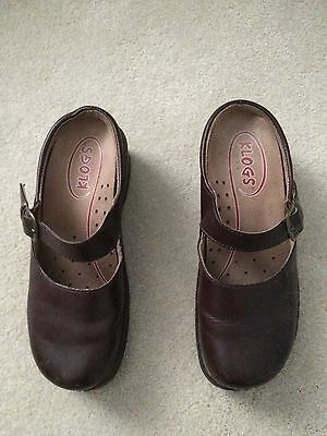 Klogs Women's Brown Leather Clogs 7M Mary Jane Slip On Shoe