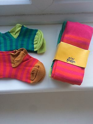 Brand New John Lewis Mini Boden 2 Pack Of Stripped Tights Age 1-2 Years