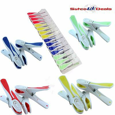 Plastic Clothes Line Pegs Deluxe Strong Rubber Grip Washing Line Hanger Colors