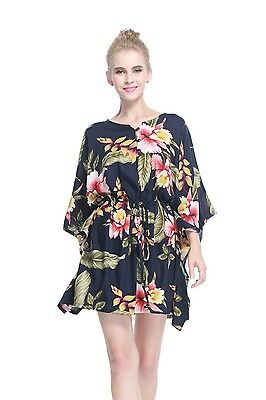 PONCHO DRESS TOP Luau Tropical Cruise Hawaiian Tie Beach Plus Size Black  Rafelsi