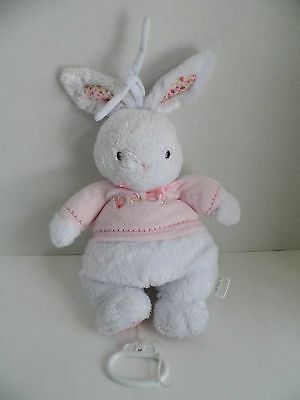 """Plush Carters Bunny Pink Baby Lullaby Crib Pull Toy Soother 2006 15"""" Musical"""