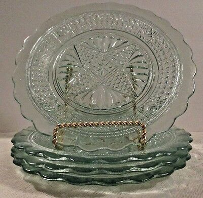 Rare Antique Ice-Green Cut Glass Plates