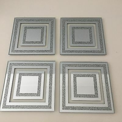 4 Glass Glitter Silver Sparkle Mirror Coasters Kitchen Dining Table Lounge Decor