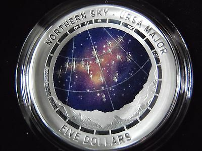 2016 Australia Silver Proof $5 Color Domed Northern Sky Ursa Major Coin