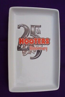 Hooters Platter 25th Anniversary Owl White Orange Collectible Plate Tray #4230