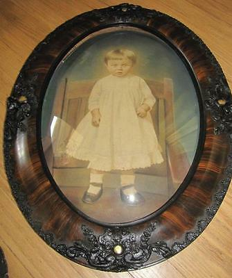 Vintage -Oval Faux Tiger Wood Picture Frame-/ Convex Glass -Beautiful Child