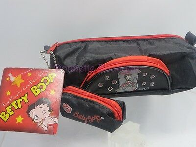 Betty Boop Pencil Case & Coin Purse Set Biker Design Black Item # 25727 Nwt