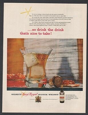 1954 Gilbeys Spey Royal Scotch Whiskey soda water Drink photo print ad