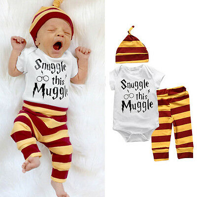 3PCS Baby Snuggle This Muggle Newborn Boys Clothes Grows Pants Hat Outfits Set