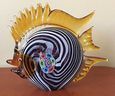 MURANO Large Hand Blown Glass Angel Fish Figurine Sculpture Paperweight Unique