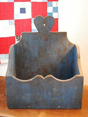 old Primitive Early antique blue paint heart country candle wall box valentines