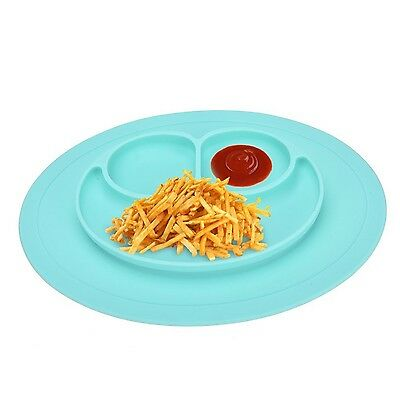 New One-Piece Silicone Placemat + Plate Mess Free Table Mat Baby Kids Child Food