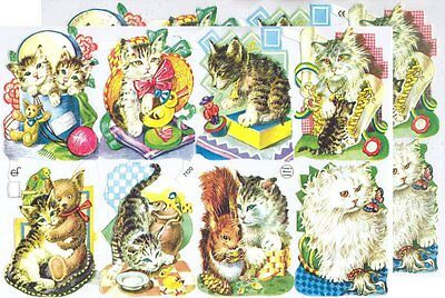 Chromo EF Découpis Chat 7120 Embossed Illustrations Cat