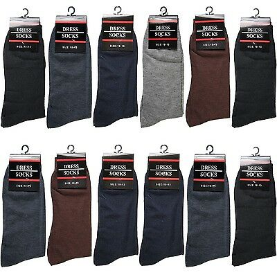 New 12 Pairs Mens Dress Socks Casual Solid Multi Color Cotton Size 10-13(347-1L)