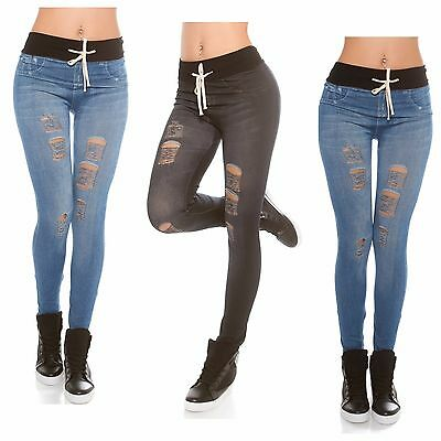 Womens Ladies Stretch Ripped Frayed Detail Trendy Jeans Look Leggings Jeggings