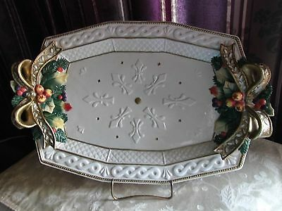 """FITZ & FLOYD  CHRISTMAS SNOWY WOODS 15 1/2"""" PLATTER  Discountinued  never used"""