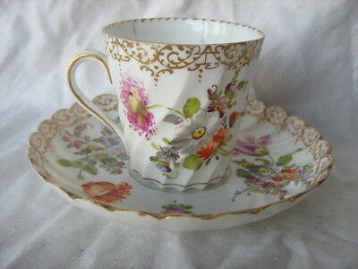 Antique early Dresden china spiral fluted scalloped hand painted cup and saucer