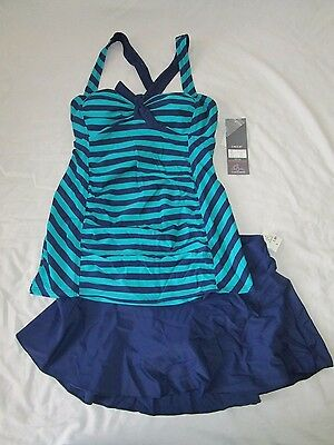 Womens Oh Baby By Motherhood 2 Pc Tankini Swimsuit Blue/green S Nwt