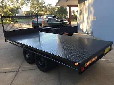 BRAND NEW Table Top Flat bed Trailer TANDEM AXLE 3.0 X 1.8 mtr DECK 2T QUADS
