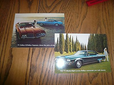 1971 Oldsmobile 98 & Cutlass Postcards Lot of 2