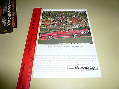 1966 Mercury Red Convertible Ad Advertisement Vintage