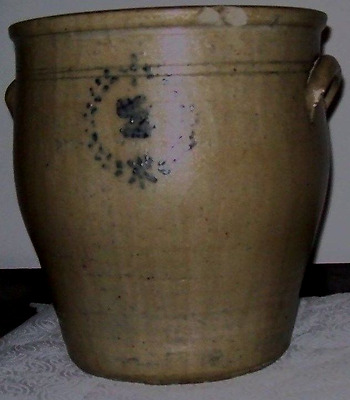 #2Salt Glazed Crock With Cobalt Blue Decoration