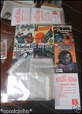 100 x RESEALABLE CURRENT / MODERN SIZE U.S. COMIC BAGS & BACKING BOARDS
