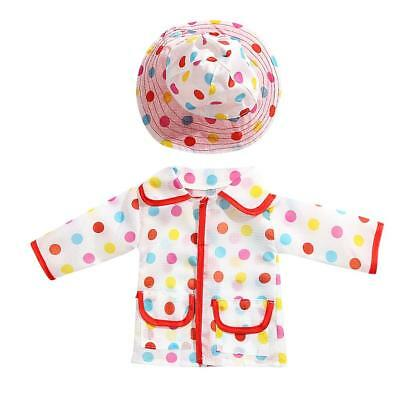 Rainbow Dot Raincoat Hat Clothes for 18in. American Girl Our Generation Doll