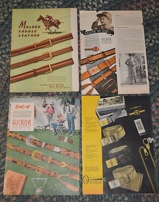 1940's 1950's Lot of 4 Men's HICKOK BELTS/Seagrams Deluxe Camping ++ 10x14 Ads