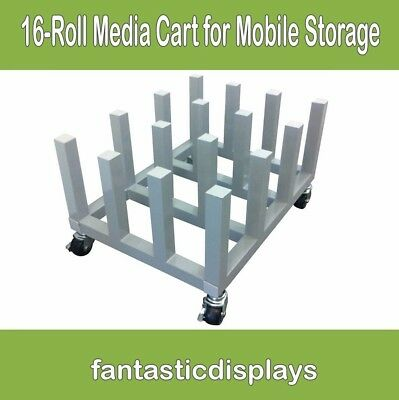 Heavy Duty Vinyl Cart Media Mobile Storage Rack for Printing - 16 Roll Capacity