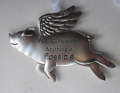 o Anything is possible If Pigs can Fly then so can I pig ORNAMENT Ganz angel