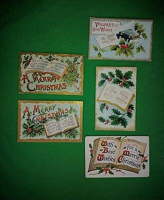 Vintage Christmas Postcards Lot of 5 Bible Open Books