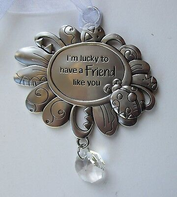 F I'm lucky to have a friend like you ladybug Beautiful BLESSINGS ORNAMENT ganz