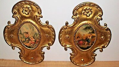 Vintage PAIR Florentine Gold Italian Wall Plaques Decor Children Gorgeous Italy