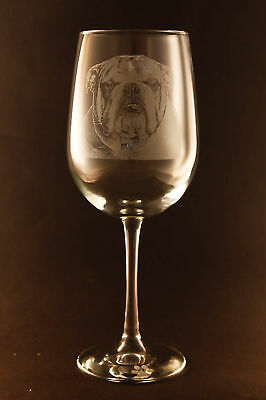 New! Etched English Bulldog on Elegant White Wine Glass