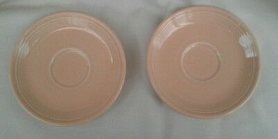 Pair Apricot Fiestaware Saucers, Discontinued in 1998, Lightly Used