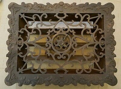 Antique Victorian Ornate cast iron floor heat register grate with Louvers