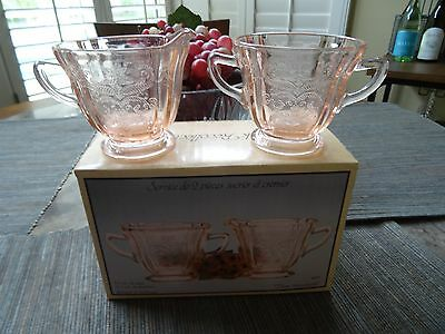 Indiana Glass Rose Pastel Madrid Pink Sugar And Creamer Set