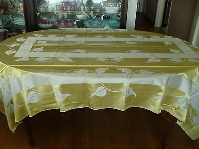 Magnificent BANQUET Double-faced Gold/Silver Linen/Rayon Tablecloth & 12 napkins