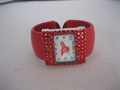 Women's Rhinestone Red Hat Fashion WristWatch Red Faux Animal Skin Band PreOwned