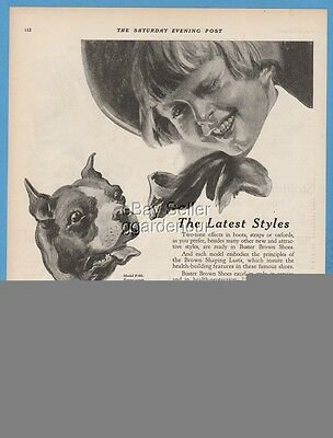 1922 Buster Brown Shoe Co St Louis MO Vintage 1920s Boys Boots Shoes Tige Ad