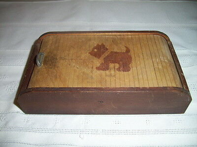 Vintage Small Rolltop Wood Wooden Box With Scottie Dog Marked Fairylite