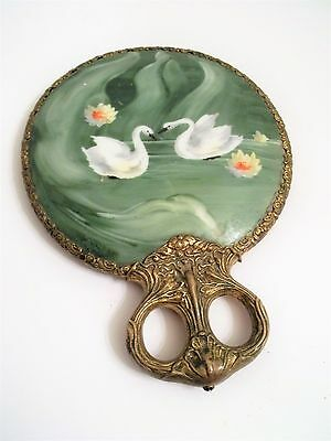 Stunning Art Nouveau Hand Dresser Mirror Painted Swans on Porcelain Back Antique