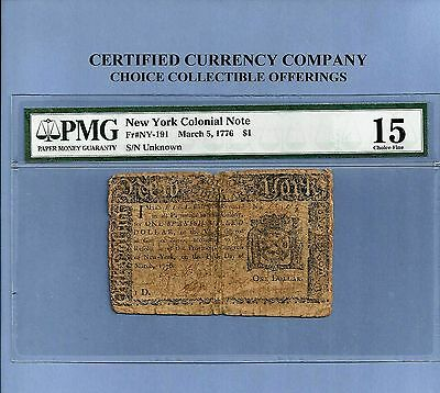 1776 $ 1 New York Colonial Note Solid PMG Fine 15 NY #91 Sharp !