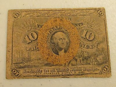 ACT OF 1863 10 CENT 10C FRACTIONAL CURRENCY NOTE - Lot AD14