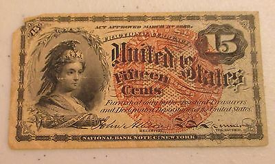 1863 15 CENTS 15C FRACTIONAL CURRENCY - Lot AD11