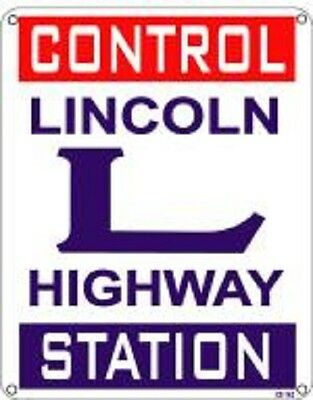 "Lincoln Highway Control Station 8""x10"" Metal Novelty Silly Signs"