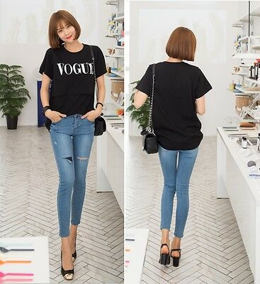 [SOIM] Breastfeeding T-shirts Maternity Casual Fashion Black Tee Nursing Clothes